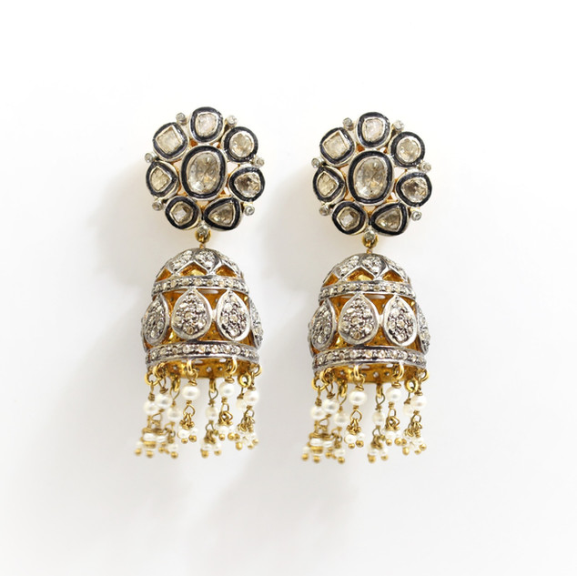 A pair of gold mounted and silver fronted rose cut diamond and seed pearl large drop earrings. £5,500.00