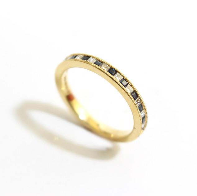 18ct yellow gold sapphire, 0.30ct and diamond, 0.24ct, G colour, Vs1 millgrain set half eternity ring. £1,350.00
