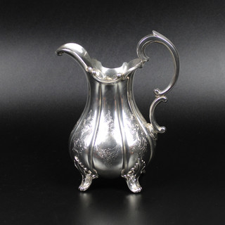 J & A Savory 1846  Tall cream jug with lobed body on four feet  6 ¾ extreme height  8oz  £325.00
