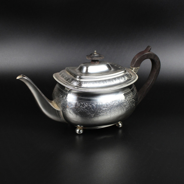 Charles Eley 1814  Cushion shaped, bright cut  teapot (repaired).  £ 285.00