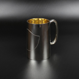 Plain Conical mug with applied cartouche 1900 11 oz £350
