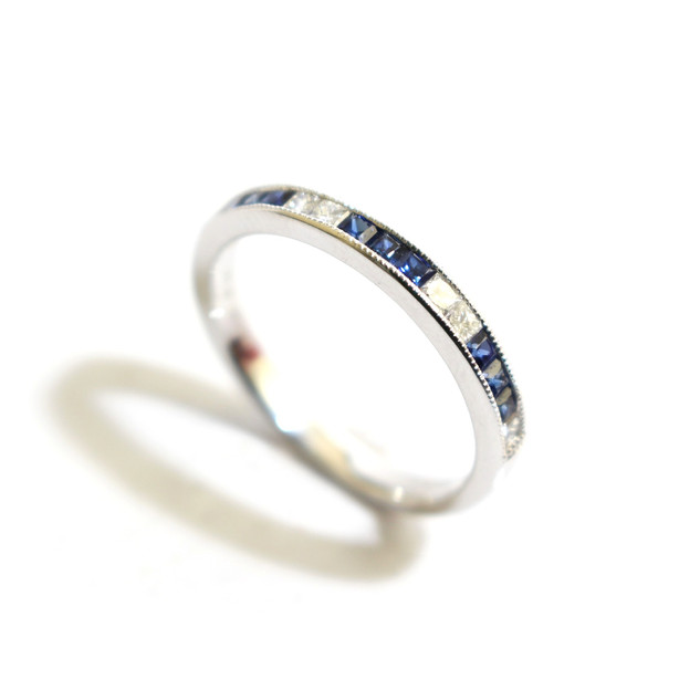 18ct white gold sapphire and diamond millgrain set half eternity ring. Total diamond weight 0.35ct, diamond weight 0.19ct, G colour, Vs1 clarity. £1,400.00