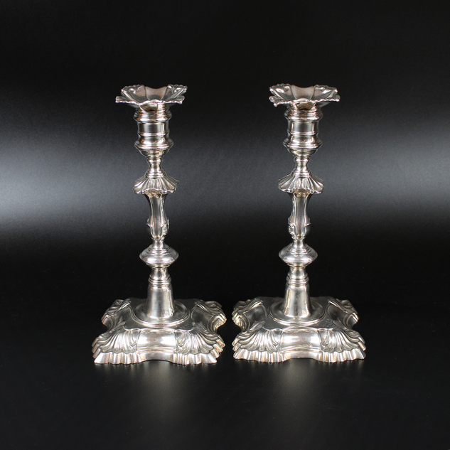 George II pair of cast candle sticks by John Priest, 1752.  £ 3,750.00