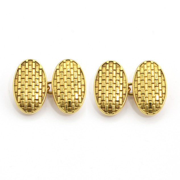 18ct yellow gold basket pattern oval chain cufflinks. £750.00