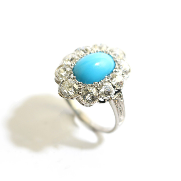 18ct white gold turquoise and diamond cluster ring. The old cut diamonds totalling 2.65cts. £6,000.00