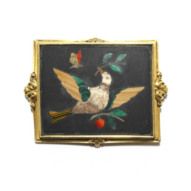 18ct yellow gold mounted micromosaic brooch. Italian, circa 1880. £950.00