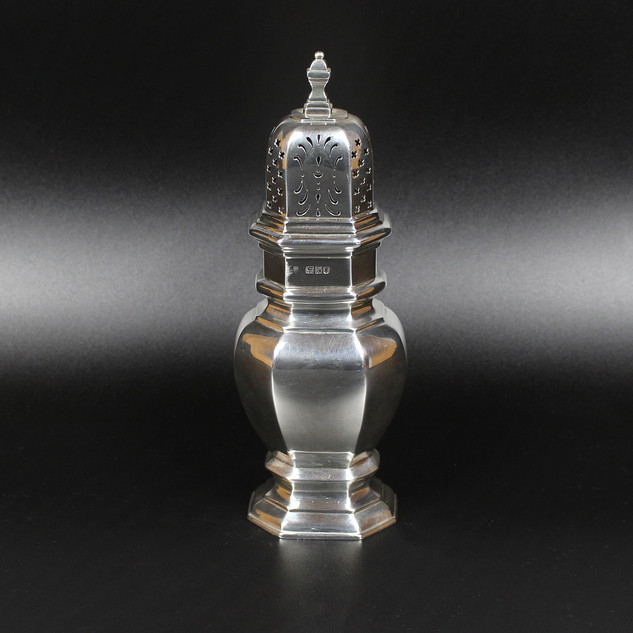 Charles Stuart Harris 1912  Giant octagonal caster, George II style. 9 ¼ inches 11 ¾ oz   £ 475.00