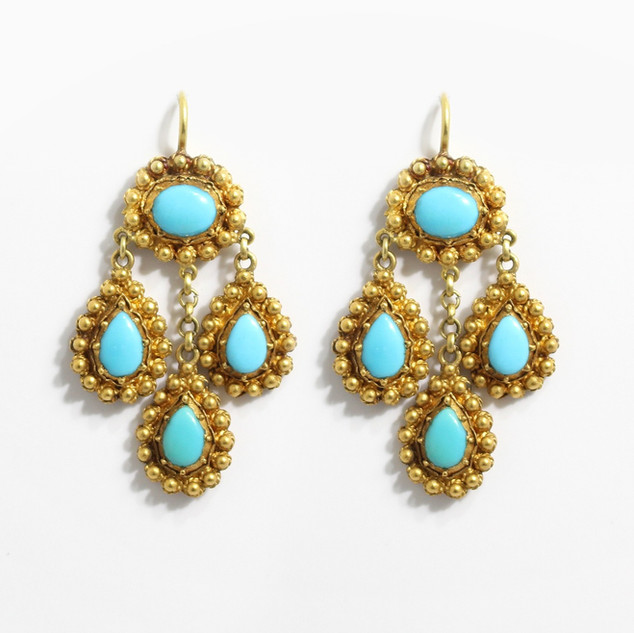 High grade gold and turquoise drop earrings with decorative ball set features. £750.00