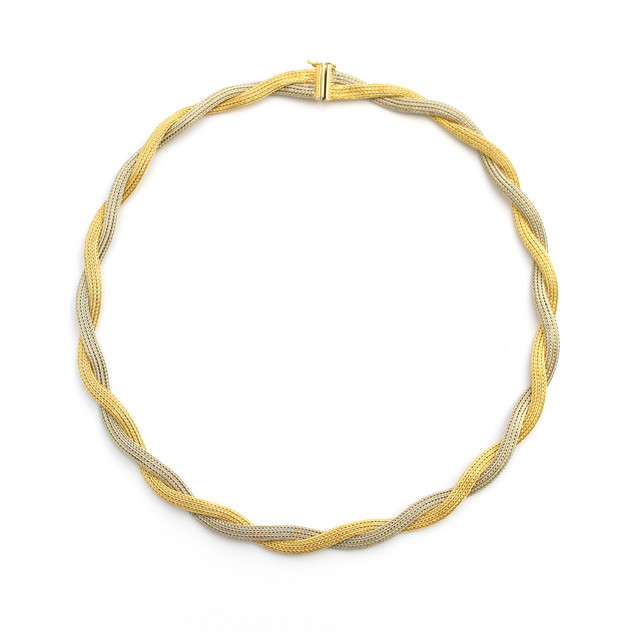 18ct yellow and white gold Italian rope twisted necklace. Complete with matching bracelet. The complete set £2,650.00
