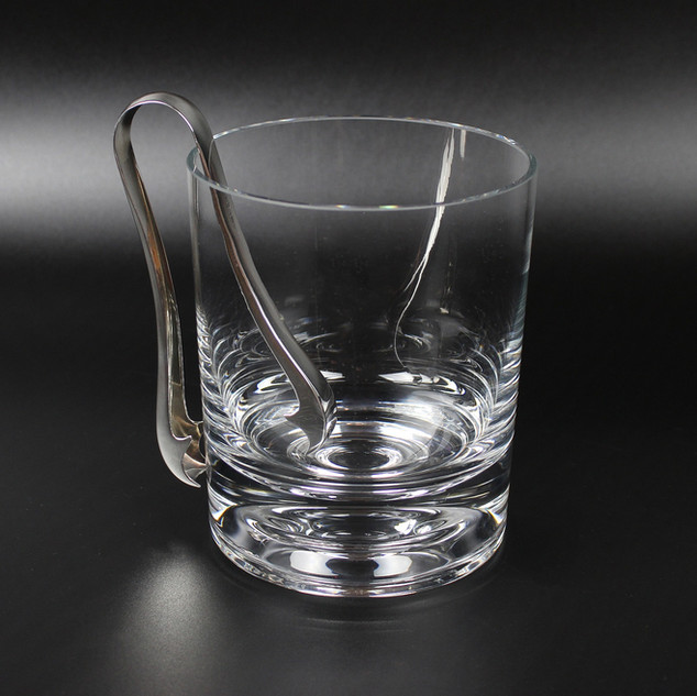 Glass ice bucket with modern silver tongs   £250.00