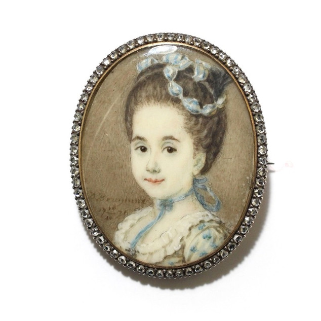 A gold mounted miniature with rose cut diamond border. Inscription on reverse: Marie Anna Brueys Gebooren den 10th Feb 1765 te Chinsura in Bengaalen  Maria Ann Brueys, probably the daughter of Peter Brueys, chief merchant and administrator for the Dutch East Indies Company (V.O.C) in Chinsura, Bengal. Mid 18th century. £2,500.00