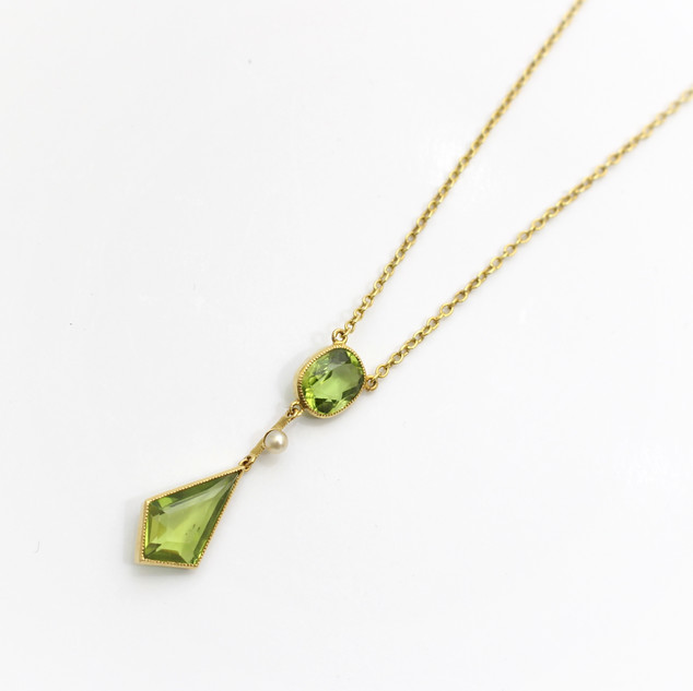 Edwardian 15ct yellow gold peridot and pearl drop pendant. Very fine condition. £1,100.00