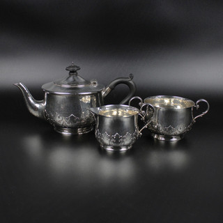 1926 Cut card work and hammered coffee, cream & sugar pots.  Maker C. E.  44 oz combined weight   £1,200.00