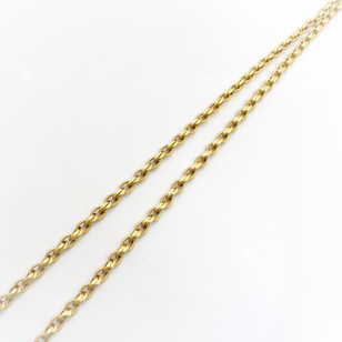 """14ct yellow gold fancylink necklace of double reeded and woven links and feature clasp. Total length 36"""""""