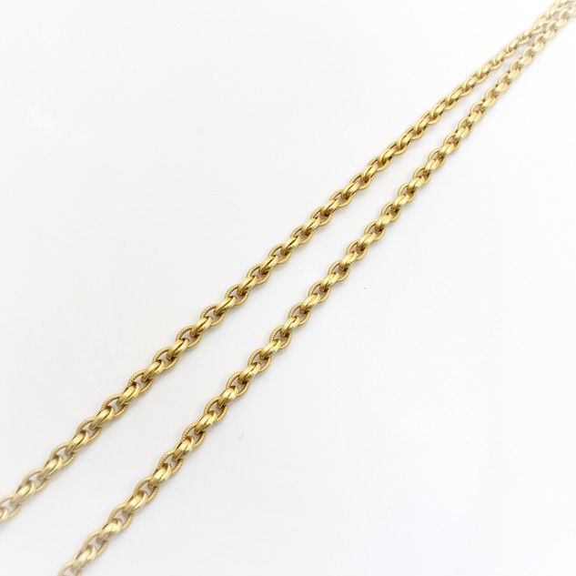 14ct yellow gold fancylink necklace of double reeded and woven links and feature clasp. Total length 36""