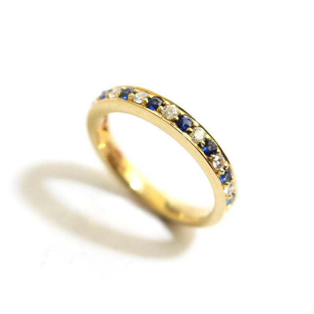 18ct yellow gold sapphire, 0.25ct and diamond, 0.22ct, G colour, Vs1. £1,250.00
