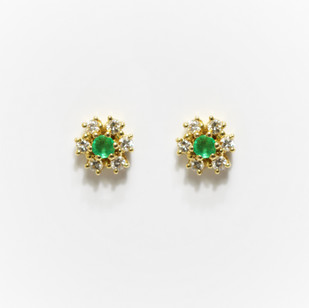 18ct yellow gold emerald and diamond cluster earrings. £650.00