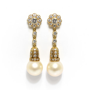 18ct yellow gold diamond set South sea drop earrings. Total diamond weight 3cts. £6,750.00