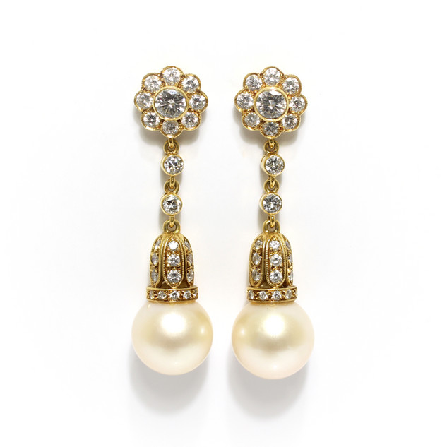 18ct gold South Sea pearl and diamond drop earrings. Total diamond weight 3.50cts, G colour, Vs1 clarity. £6,750.00
