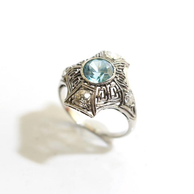 A platinum Art Deco blue zircon and old cut diamond dress ring. £3,250.00