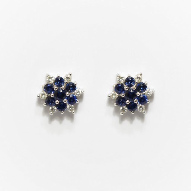 18ct white gold sapphire and diamond snowflake cluster earrings. £1,200.00