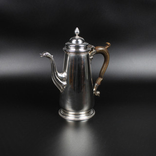 Thomas Whipham 1751  Coffee pot with swan spout Pear finial  27 oz  Contemporary initials under base E.P.    9 ¾ inches   £ 4,250.00