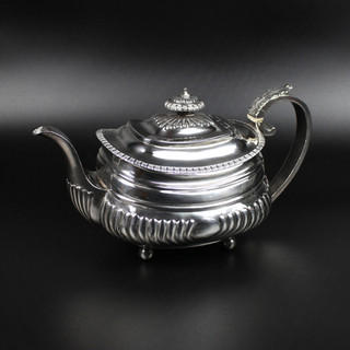 London 1819  Cushion, half fluted, shaped pot on four ball feet. Maker: S.R. over I.E.L. 18 oz  £ 650.00