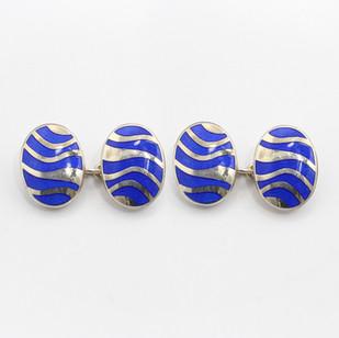 Silver and blue enamel oval chain cufflinks. £185.00