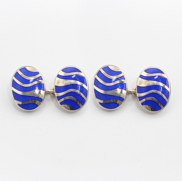 Silver and blue enamel oval chain cufflinks. £185.00