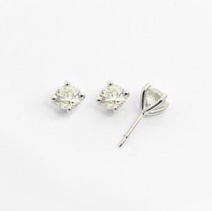 18ct white gold diamond stud earrings. The modern brilliant cut diamonds 0.50ct each, G/H colour, Si clarity. £3,750.00