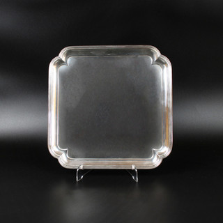 Gerrard and Co. 1969 Square salver with incurved corners, reed boarder and four panel feet.   9 ¾ inches across 23 oz   £550.00
