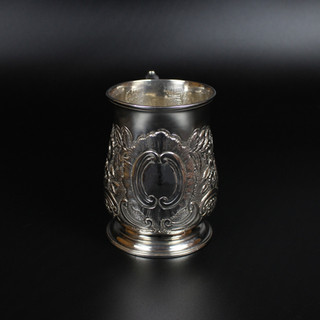 Baluster Mug 1747 Victorian floral chasing with vacant cartouche  £425