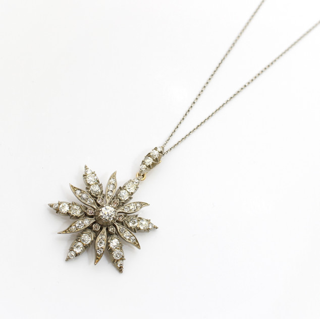 A Victorian gold and silver fronted old cut diamond pendant. £3,250.00