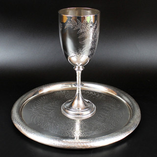 Charles Boyton 1884 Fern and butterfly engraved goblet 1884  9oz  9 ½ inches  £ 475.00  Circular fern engraved tray with domed boarder  Martin Hall and Co. 1884 For Flavell and Roberts London, Brisbane and Sydney. 12 1/4 inch 28 oz  £1,250.00