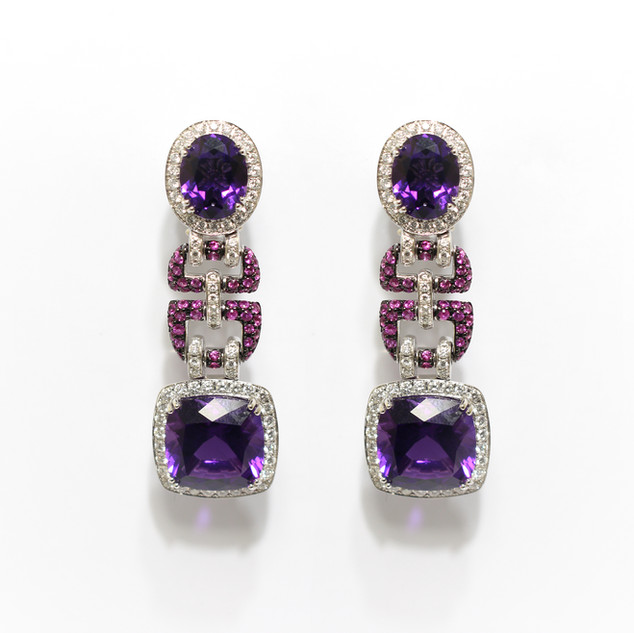 A pair of Aspreys 18ct white gold amethyst, pink tourmaline and diamond fancy drop earrings. Cased and with provision to waer as both clips and posts.