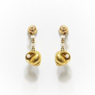 9ct gold shell drop earrings with seed pearl features. Scroll clip fittings. £400.00
