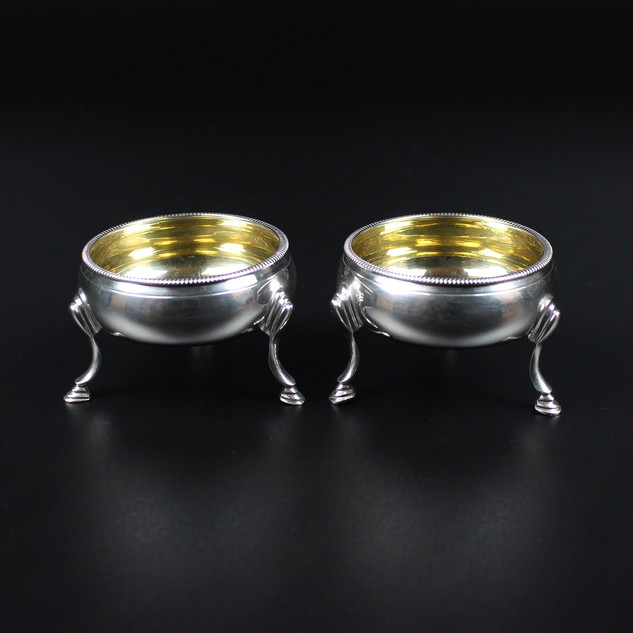 Pair of salts, gilded within, on hoof feet. Thomas Shepherd 1762 1822 With shovel spoons – 3 oz  £450.00 for the pair