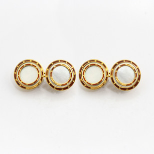 18ct yellow gold circular chain cufflinks. Set with mother of pearl and bands of gold and enamel. C1920. £750.00