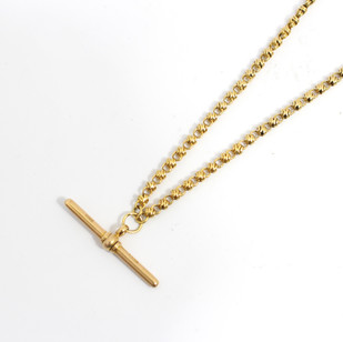 18ct yellow gold fancy link chain with T bar, weighing 29.11 grams, 18 inches in very good order. £3,250.00