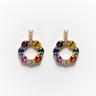 18ct rose gold multicolour sapphire and diamond circlet drop earrings. The coloured sapphires totalling 2.29cts, diamonds 0.25ct. £2,200.00