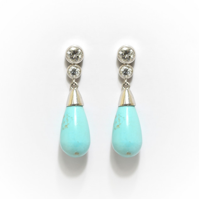 18ct white gold turquoise and diamond drop earrings. Part of a pendant and earring set. Designed by Grey-Harris & Co. Complete set £1,650.00