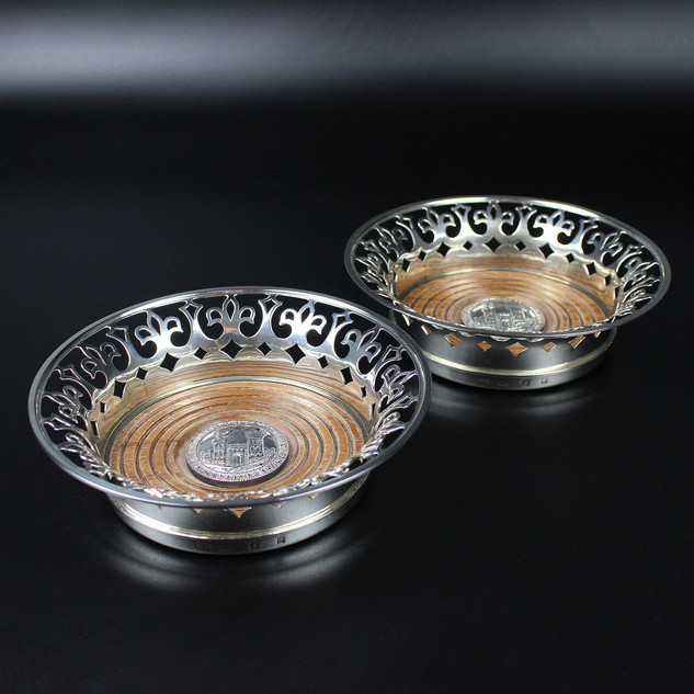 Anthony Elson 1973  Pair of decanter coasters commemorating Bristol 600 years- Anniversary of granting of charter.  £800.00