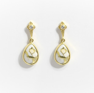 18ct yellow gold earring set with pear shaped gold in quartz, diamonds features above in rub over setting. £1,150.00