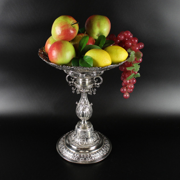 Fruit stand / centre piece  Indian fan style / Peacock plume style with bell foot bulbous stem and pierced oval detachable dish.   Robert Garrard II ( -1881) 1875 14 inches height 67 oz  £ 5500.00