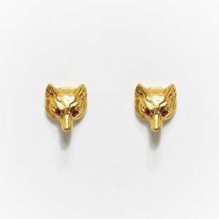 18ct yellow gold fox head earrings with ruby eyes. By Alabaster & Wilson. £650.00