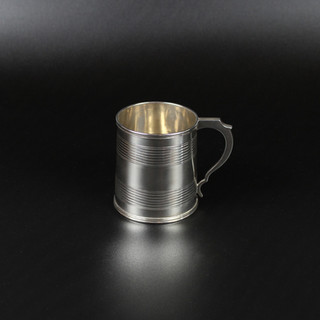 Hooped conical christening mug  2 ¾ inches 1830s Date letter rubbed & engraving erased. 4 oz £325.00