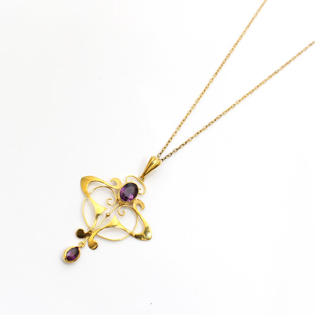 Art Nouveau 9ct gold and amethyst decorative necklace. £325.00