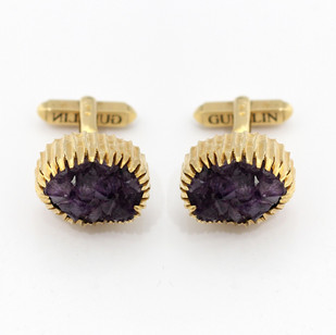 9ct yellow gold chunky T-bar cufflinks. The crystal amethysts set almost immitating mountains. Gubelin, circa 1970. £450.00