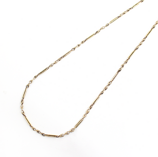 9ct yellow gold early 20th century fetter and three link chain necklace. £625.00