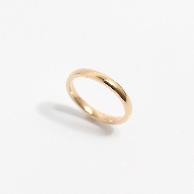 A 2mm 18ct rose gold 'Court' profile wedding band. Most wedding rings are priced by weight. This example is a size J. £425.00 Please enquire for alternative price and sizing.